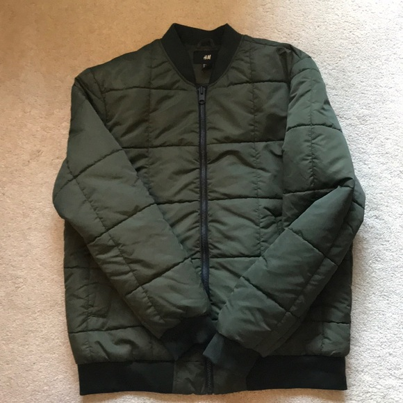 Hm Jackets Coats Hm Mens Olive Quilted Jacket Poshmark